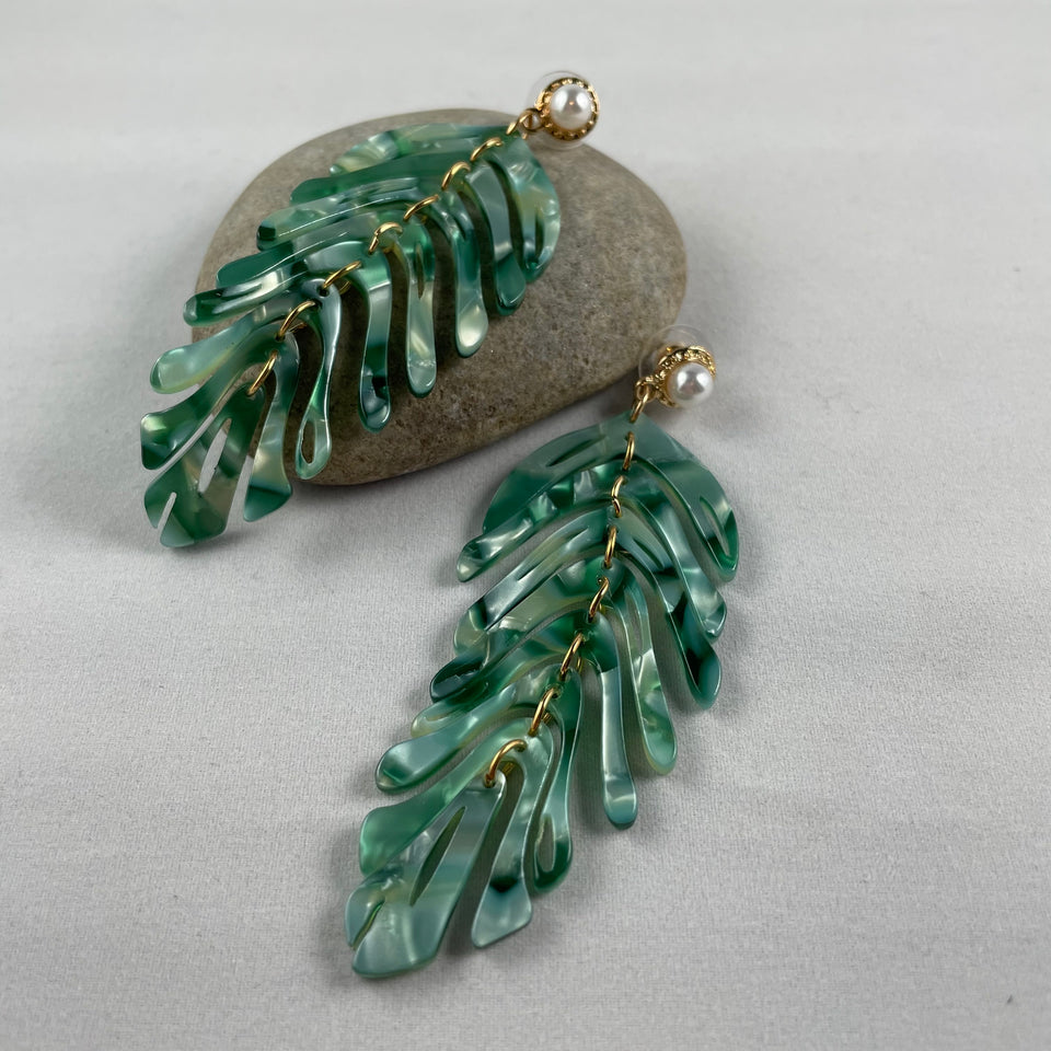 Green Tropical Leaf Dangle Statement Earrings,  - Whaleycorn.com