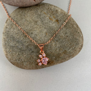 Pink Paw Print Necklace,  - Whaleycorn.com