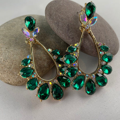 Green Stone Dangle Statement Earrings,  - Whaleycorn.com
