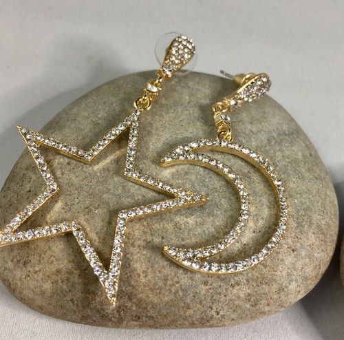 Star and Moon Earrings, jewelry - Whaleycorn.com
