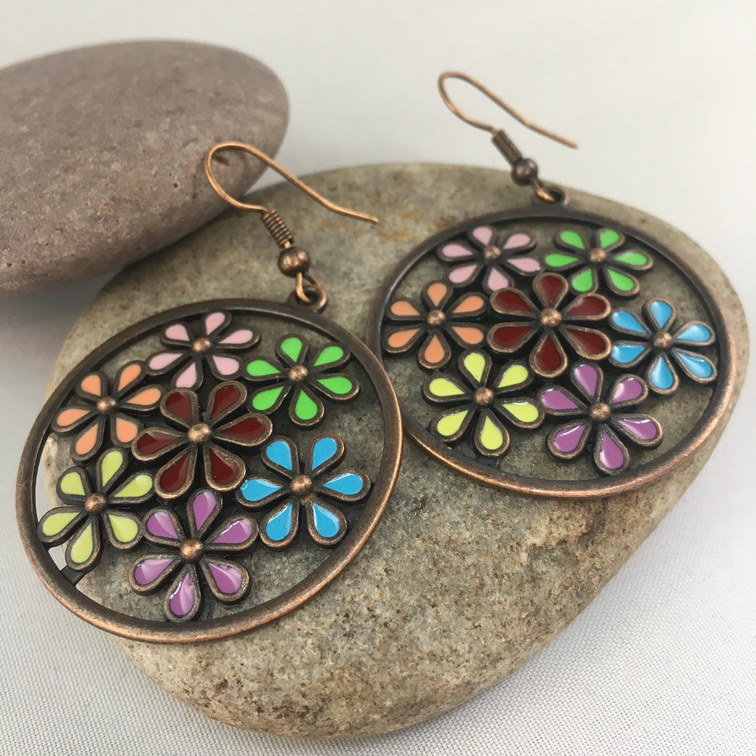 Flower Pattern Earrings, jewelry - Whaleycorn.com