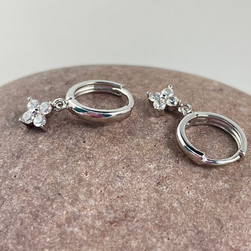 Silver Plated Flower Huggie Earrings - Whaleycorn.com