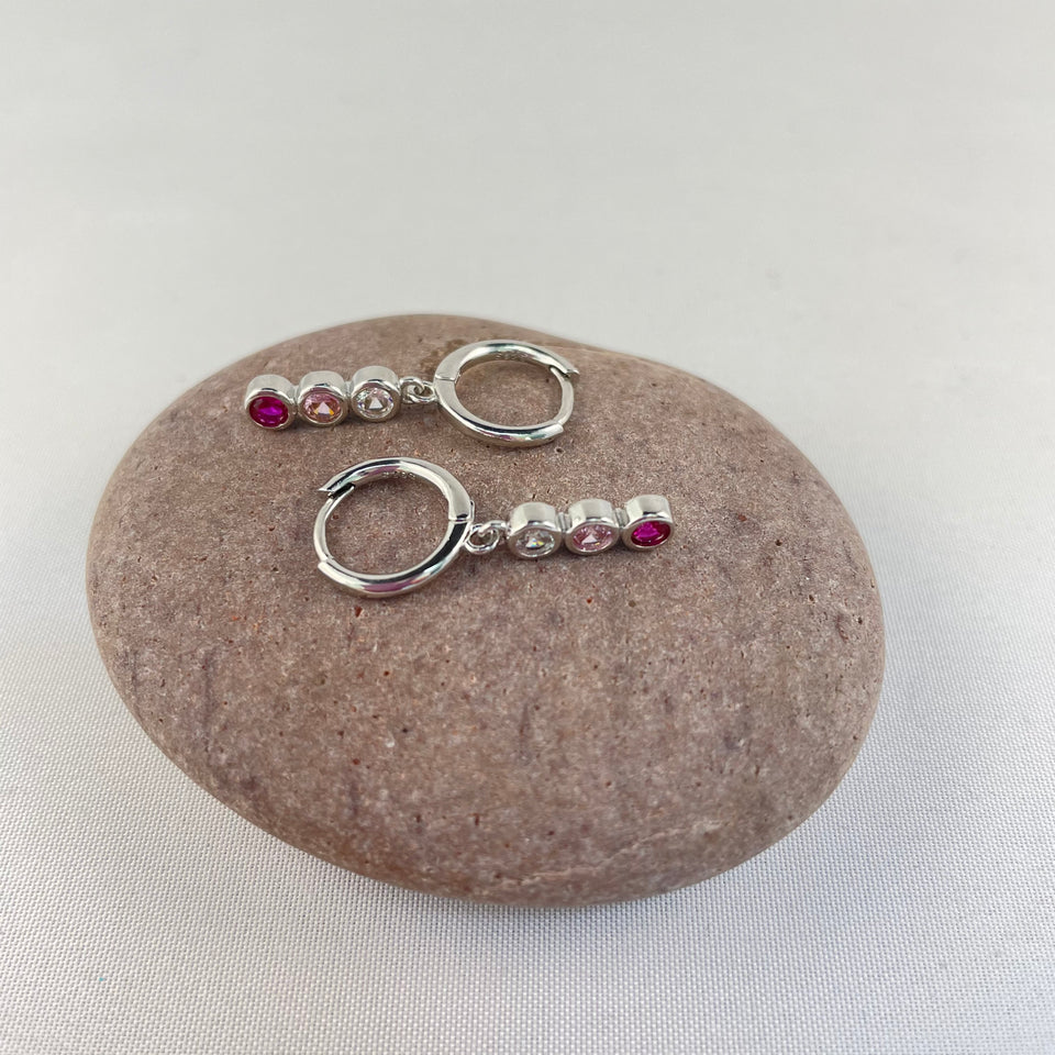 Pink Tri Stone Huggies Silver Plated - Whaleycorn.com