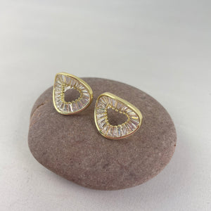 Gold Plated Circular Sparkle Earrings - Whaleycorn.com