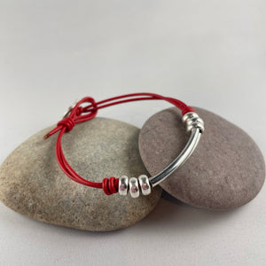 Red Faux Leather Friendship Bracelet,  - Whaleycorn.com