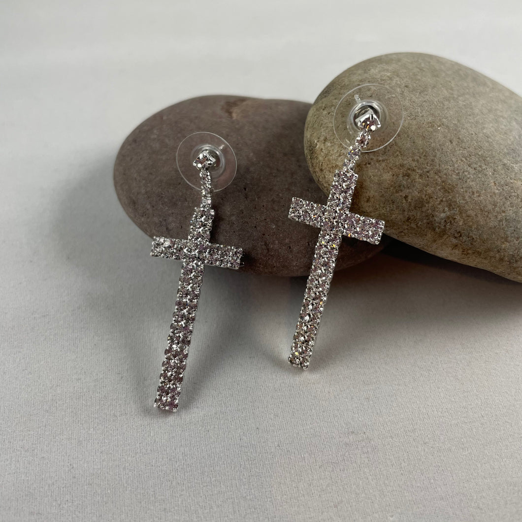 Sparkly Cross Dangle Statement Earrings, jewelry - Whaleycorn.com