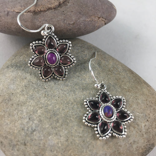 Purple Flower Boho Earrings, jewelry - Whaleycorn.com