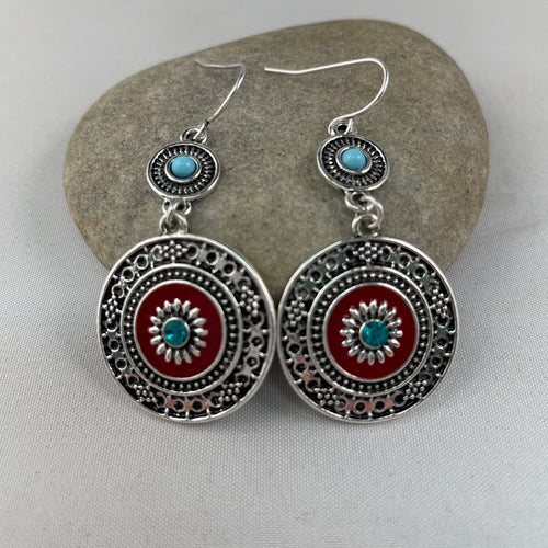 Red Enamel Boho Earrings, jewelry - Whaleycorn.com