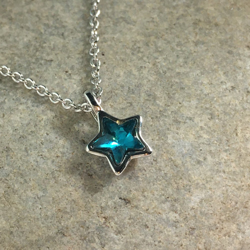 Silver Plated Micro Star Necklace with Blue Stone - Whaleycorn.com