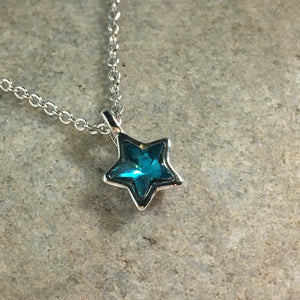 Silver Plated Micro Star Necklace with Blue Stone, jewelry - Whaleycorn.com