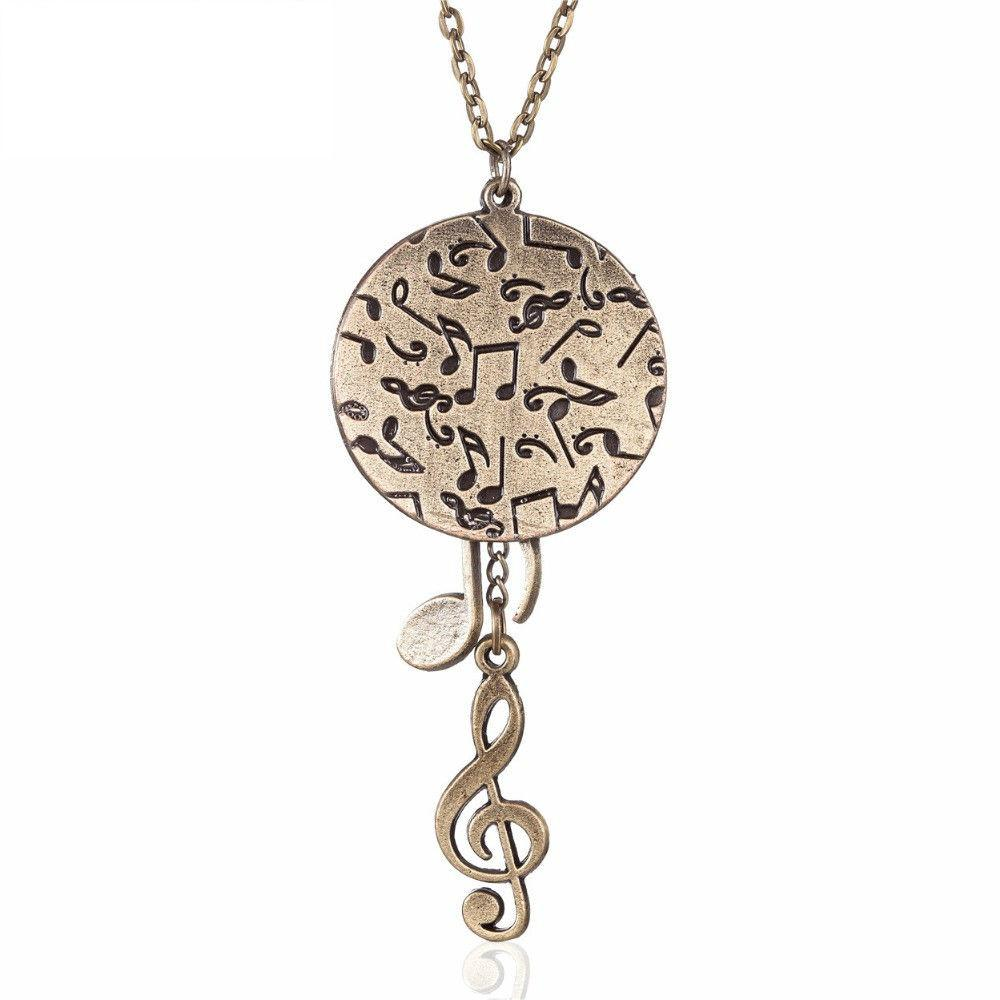 musical de lou bijoux note pendant steel product list necklace ssteel cat gold plated stainless