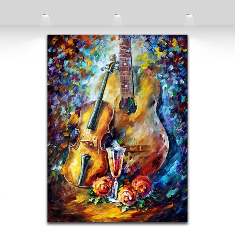 Handpainted Music Instrument Oil Painting Wall Decor - Artistic Pod