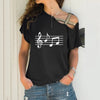 Music Notes Cross Bandage T-Shirt