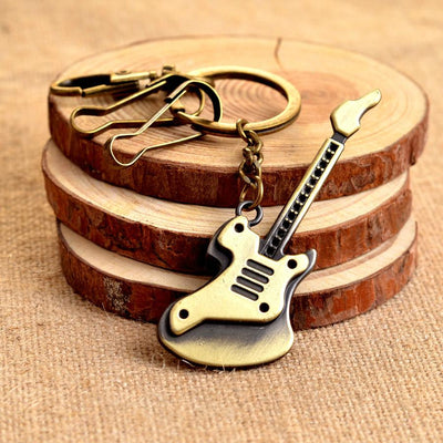 Zinc Alloy Bronze Plated Guitar Keychain - Artistic Pod Review
