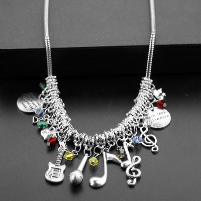 DIY Necklace With Metal Guitar Microphone Musical Notes Charm