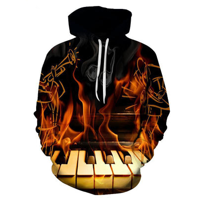3D Print Burning piano Hoodie - Artistic Pod Review