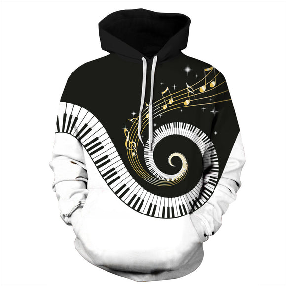 7554b9ad6cd 3D Print Piano Keys   Music Note Hoodie - Artistic Pod Review