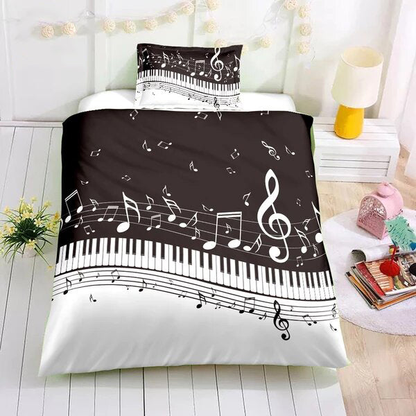 Musical Notes Instrument Guitar Drum Kit Saxophone Bedding Duvet Quilt Cover Set