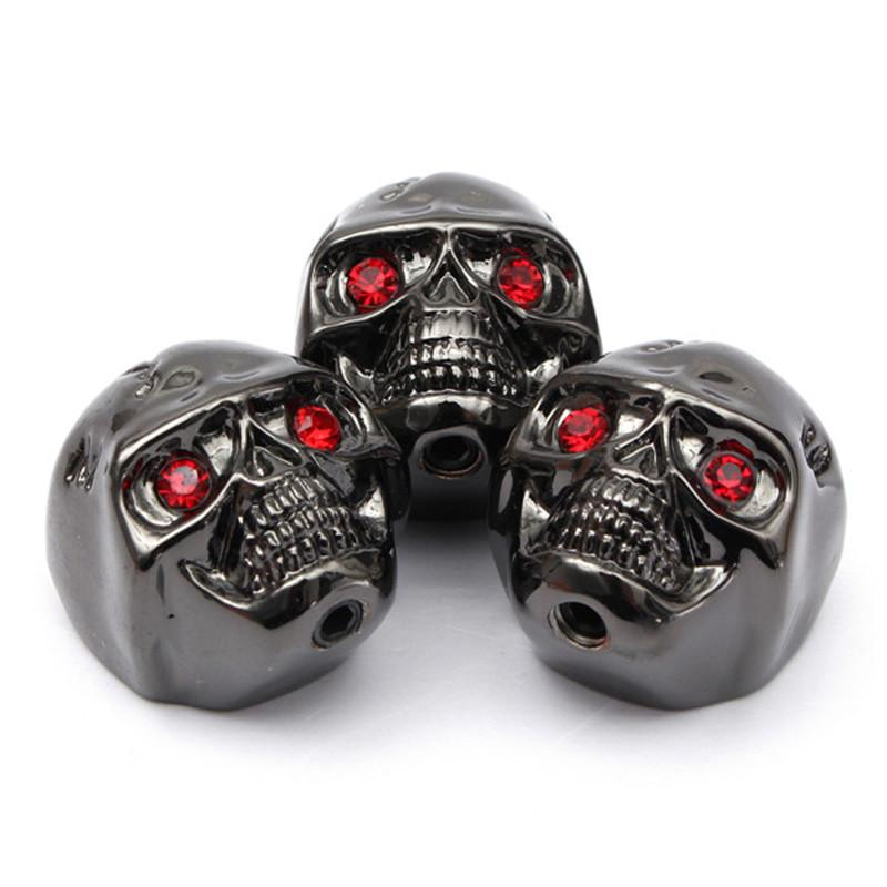 3pcs Cool Shape Skull Head Volume Control Knobs Black For Electric Guitar NEW
