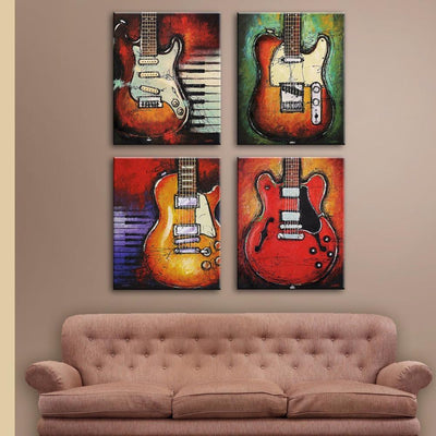 4 Pieces Guitars With Piano Keys Canvas Art