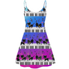 Cute Gradient Piano Cats Print Dress