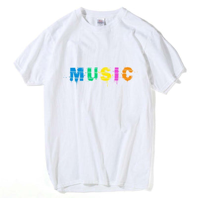 Mens Colorful Music Print T-shirt