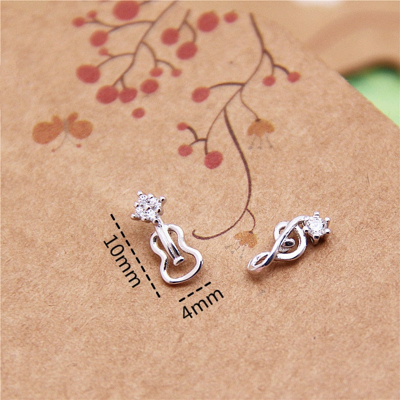 Brand  New  !! Pair Of Sterling Silver  925  Musical  Ear Studs  !
