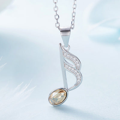 Crystal Sixteenth Note Pendant Necklace - Artistic Pod Review