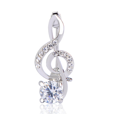 Crystal Music Note Pin