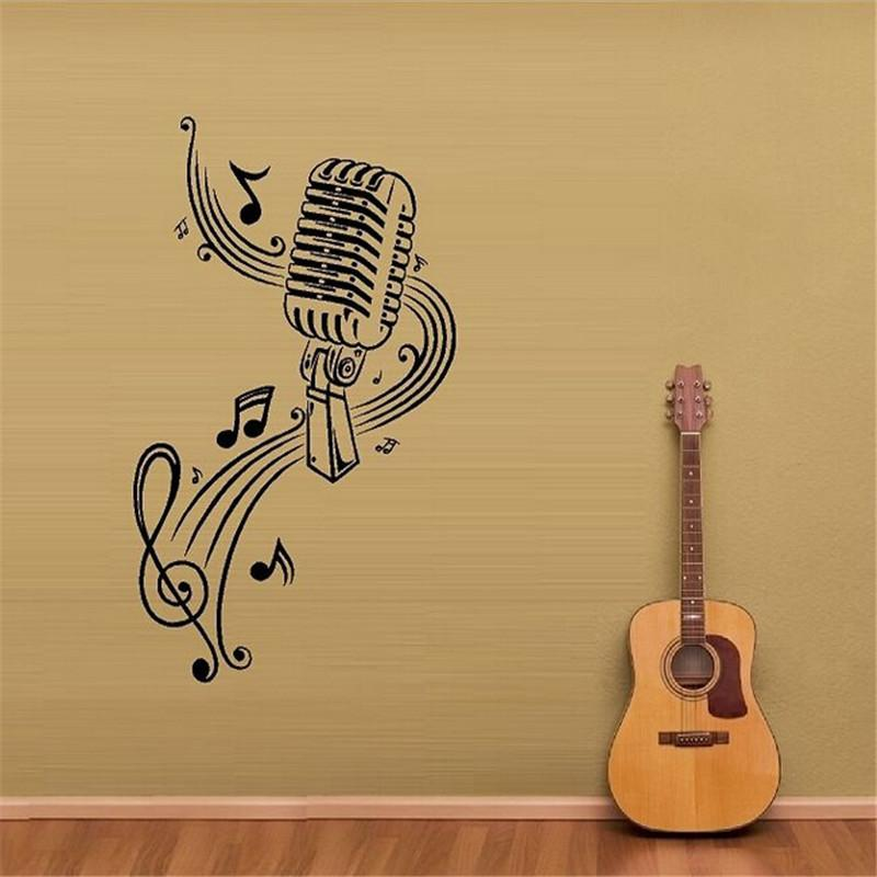 MICROPHONE Music Notes Hair bar Wall Stickers - Artistic Pod