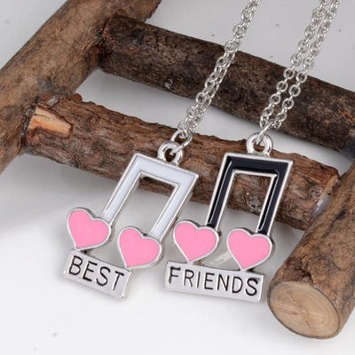 Best Friends Musical Notes Hearts Necklace - Artistic Pod Review