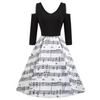 Sexy Shoulder Music Note Party Dress