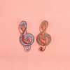 Retro Music Note Crystal Brooches
