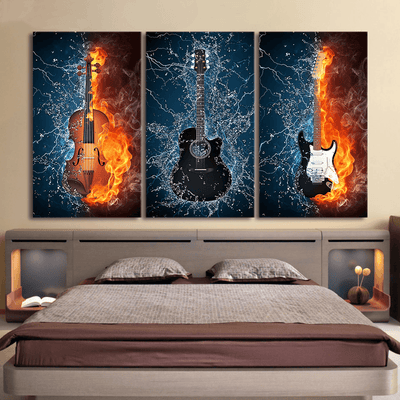 Fire Water Electric Violin Guitar Wall Decor