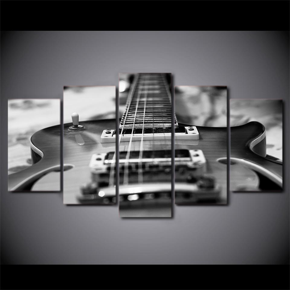 5 Pieces Monochrome Guitar Canvas Art