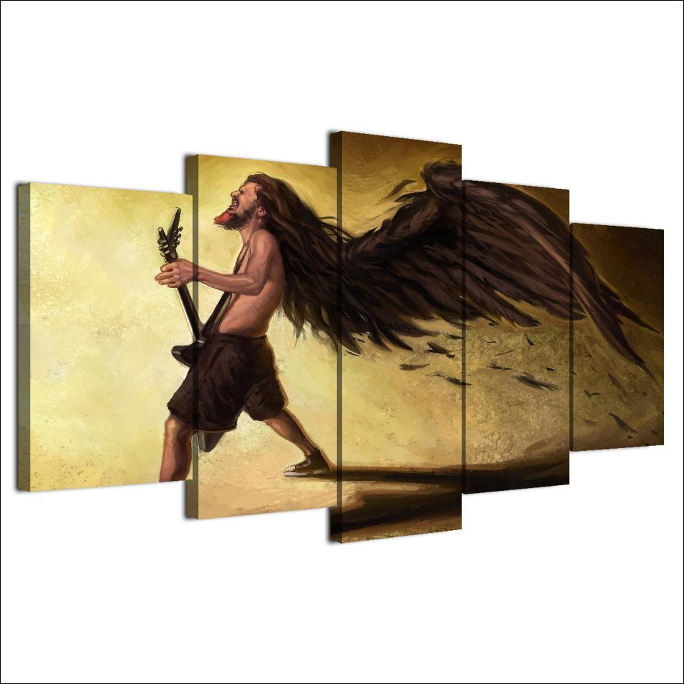 5 Pieces Metal Wing Guitar Canvas Art - Artistic Pod