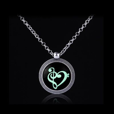 Glow In The Dark Musical Note Necklace