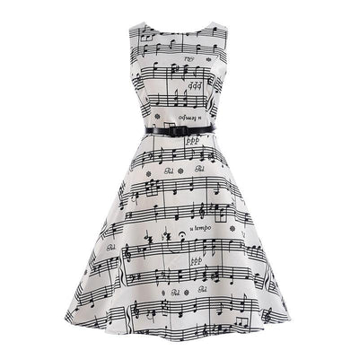 Elegant Music Notes Sleeveless Dress - Artistic Pod Review
