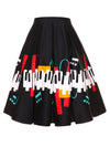 Piano Key Print Flared Skirt