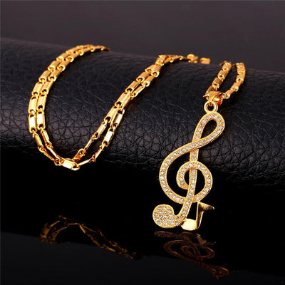 Music Note Zirconia  Pendant Necklace - Artistic Pod Review