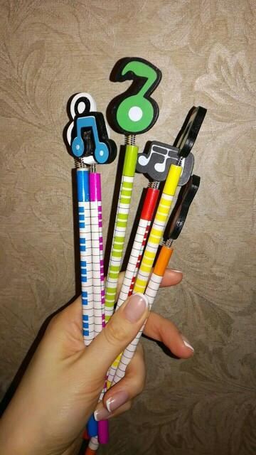 6 Pcs / Music Notes Wooden 2B Pencil - Artistic Pod Review
