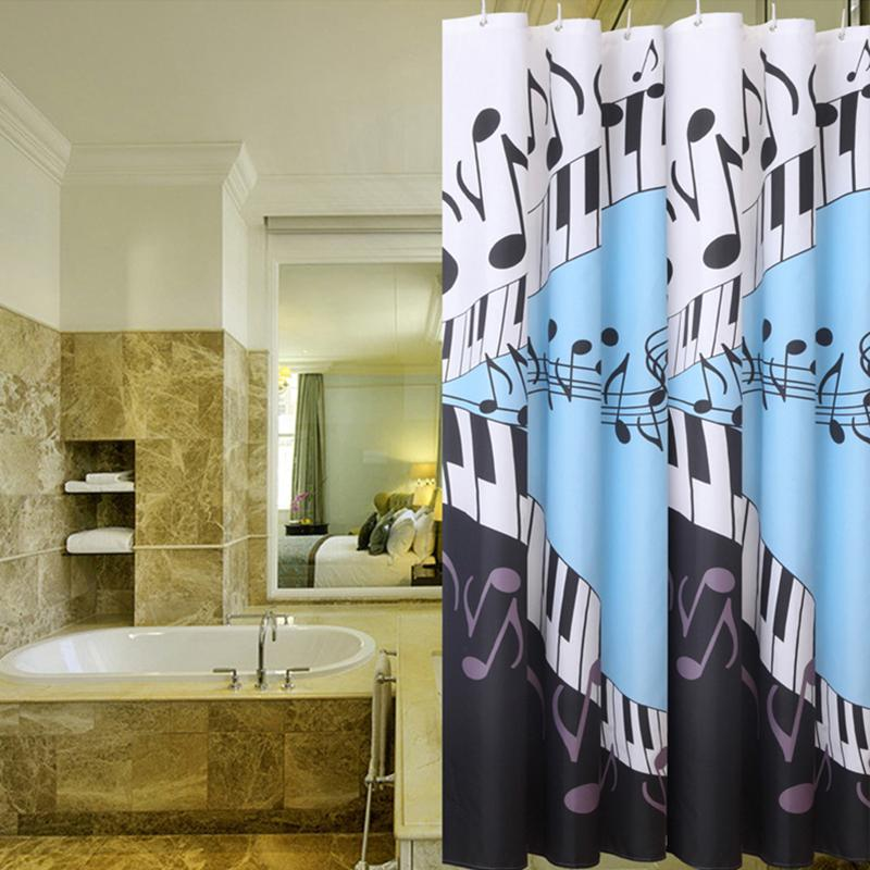 Blue Musical Notes Shower Curtain