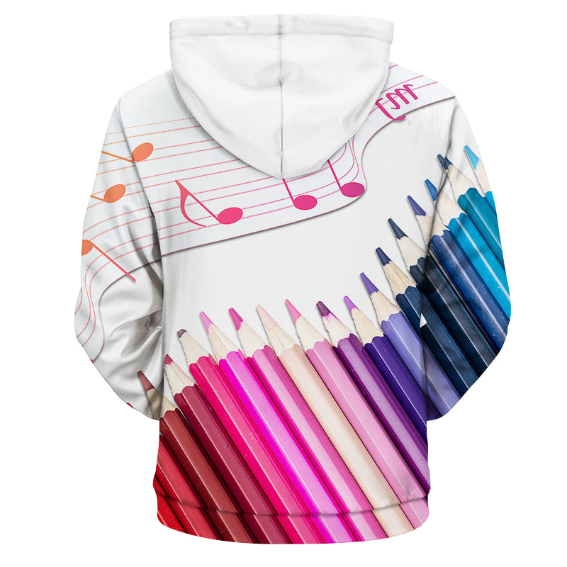 Colored Pencils Music Note Hoodie Artistic Pod