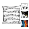 Music Notes White Cushion Cover