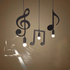 Matte Black Musical Notes Ceiling Light