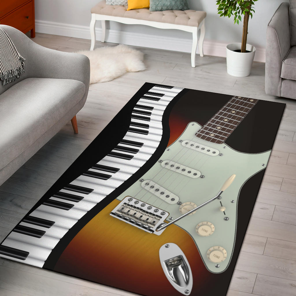 Electric Guitar With Piano Area Rug Artistic Pod