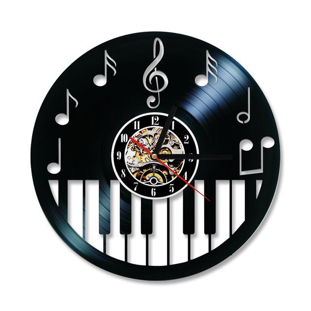 Hollow Piano Keyboard Vinyl Record Clock Artistic Pod