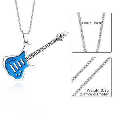 Stainless Steel Guitar Pendant Necklace