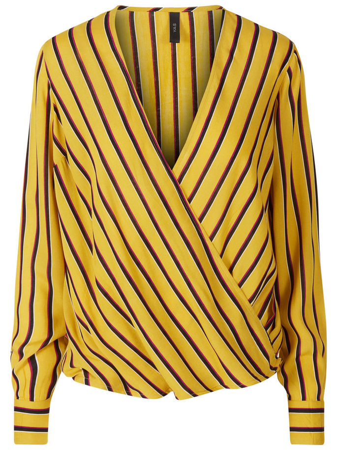 Striped Wrap Blouse