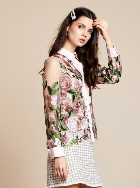 Rose brocade Blouse